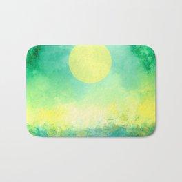 Yellow Moon, Emerald Sky, Blue Water Bath Mat