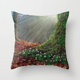 Sunlit Snowdrop Wood Throw Pillow
