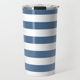 Blue and White Stripes Travel Mug