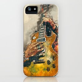 slash's guitar wall art - hand painted guitar art, unique gift for musicians iPhone Case