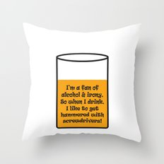 Irony & Screwdrivers Throw Pillow
