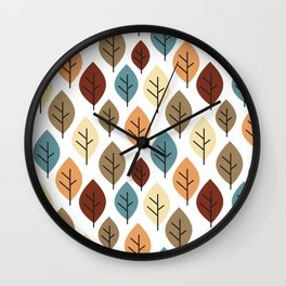 cute colorful autumn fall pattern background illustration with leaves Wall Clock