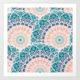 Mandala pattern #1 - green, blue Art Print