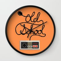 old school Wall Clocks featuring old school by paul nunez