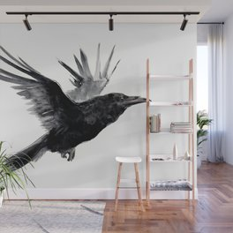 Raven, Flying Raven, Tribal Raven, Crow art black and white Wall Mural
