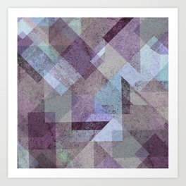 PLUM TURQUOISE ABSTRACT GEOMETRIC Art Print
