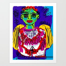 Green Face Angel Digital Drawing Art Print