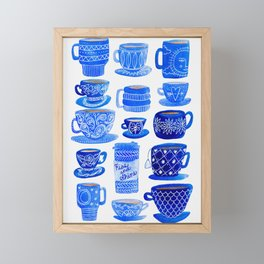 Coffee Mugs and Teacups - A study in blues Framed Mini Art Print