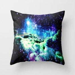 Galaxy Clouds Blue Purple Green Throw Pillow