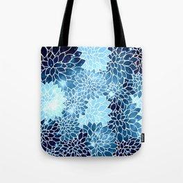 Space Dahlias Blue Ice Tote Bag