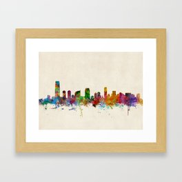 Jersey City New Jersey Skyline Framed Art Print