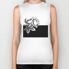 Single Rose Black and White Biker Tank
