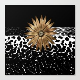 Animal Print Cheetah Black and White Pattern and Gold Medallion Canvas Print