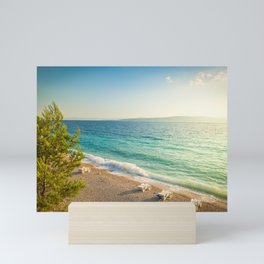 Beach in croatian coast, blue sea. Aerial view Mini Art Print