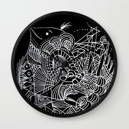 Black and White Lines Art Deco Wall Clock