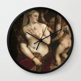 "Titian Venetian,Fine ART,""Venus with a Mirror"",anno1555, oil on canvaSWall Art Wall Clock"