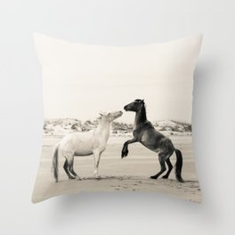 Wild Horses 4 - Black and White Throw Pillow