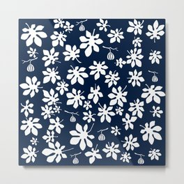 Fig Tree Pattern - White Metal Print