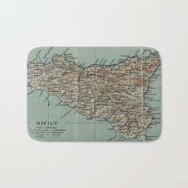 Vintage Map of Sicily Italy (1911) Bath Mat