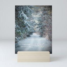 Trail by Evergreens in Winter Mini Art Print