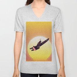 Vintage fighter plane Unisex V-Neck