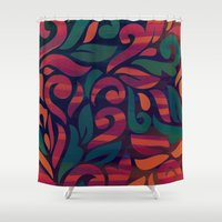 vintage floral Shower Curtains featuring VINTAGE FLORAL by Julia Tomova