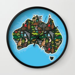 map of Australia. Wombat Echidna Platypus Emu Tasmanian devil Cockatoo kangaroo dingo octopus fish Wall Clock