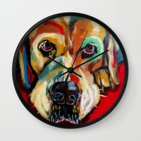 lab Wall Clocks featuring Yellow Lab by Juliette Caron