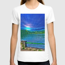 Sun over Lake Schliersee bavaria Germany T-shirt