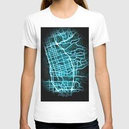 Chula Vista, CA, USA, Blue, White, Neon, Glow, City, Map T-shirt