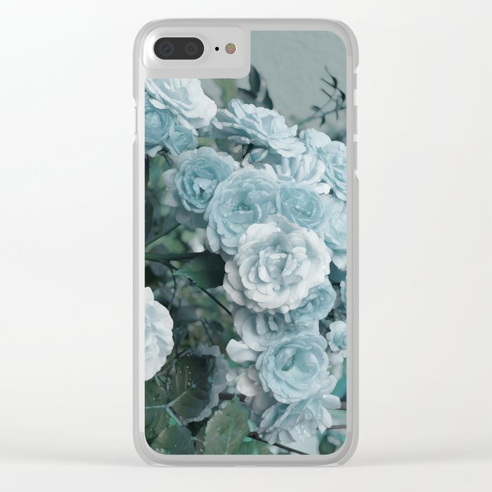 A cloud of blue roses Clear iPhone Case