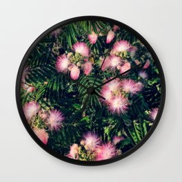 Mimosa Tree Floral Pattern | Photography | Tropical | Pink aesthetic Wall Clock
