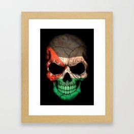 Dark Skull with Flag of Jordan Framed Art Print
