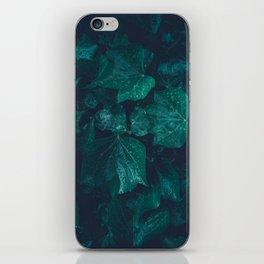 Dark emerald green ivy leaves water drops iPhone Skin