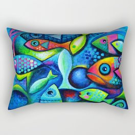 Hello fishies Rectangular Pillow