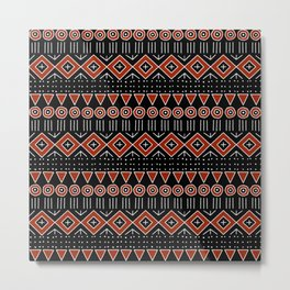 Mudcloth Style 2 in Black and Red Metal Print