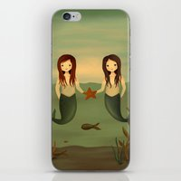 pisces iPhone & iPod Skins featuring Pisces by The Midnight Rabbit
