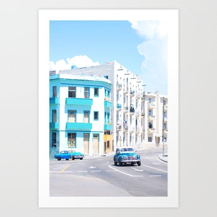 45. Two Vintage Blue, Cuba Art Print