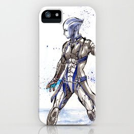 Liara from Mass Effect sumi style with calligraphy iPhone Case