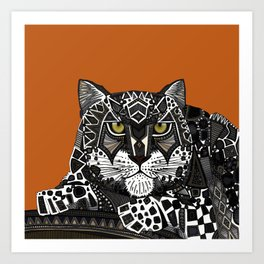 snow leopard orange Art Print