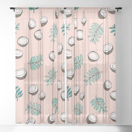 Little coconut garden summer surf palm leaves pink Sheer Curtain