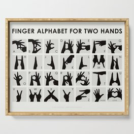 Infographic Guide to Finger Alphabet for Two Hands Serving Tray