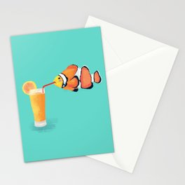 The Clown Fish Drinks Stationery Cards