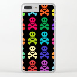Colorful Pirate Skulls Clear iPhone Case