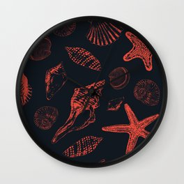 Underwater creatures in red and dark blue Wall Clock