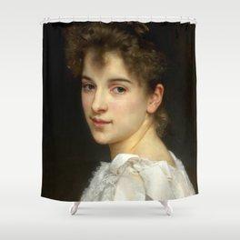 """William-Adolphe Bouguereau """"Portrait of Gabrielle Cot"""" Shower Curtain"""