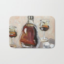 Cognac, alcohol, original oil painting Bath Mat
