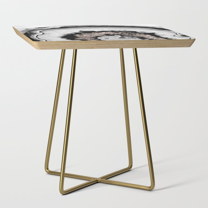 Gray Black White Agate with Rose Gold Glitter #1 #gem #decor #art #society6 Side Table