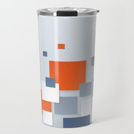 BLUE, WHITE AND ORANGE SQUARES ON A PALE BLUE BACKGROUND Abstract Art Travel Mug