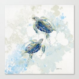 Swimming Together 2 - Sea Turtle  Canvas Print